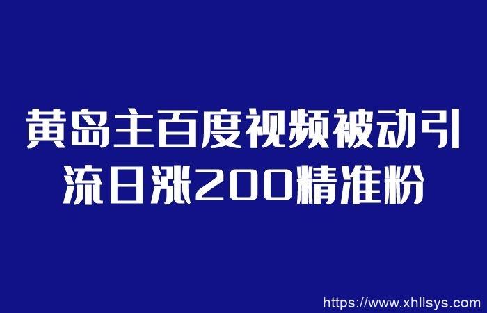 黄岛主百度视频被动引流日涨200精准粉